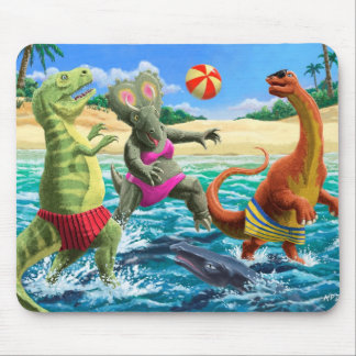 dinosaur fun playing volleyball on beach mouse mat
