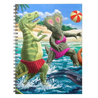 dinosaur fun playing volleyball on beach spiral notebook