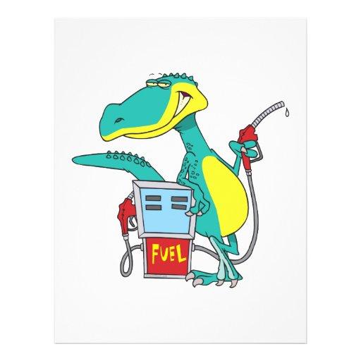 dinosaur gas pump fossil fuel cartoon custom flyer