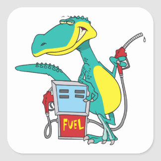 dinosaur gas pump fossil fuel cartoon square sticker