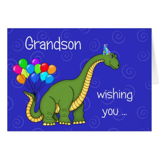 Dinosaur Grandson Birthday Greeting Card | Zazzle
