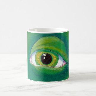 Dinosaur green eye frog lizard ogre painting art coffee mug
