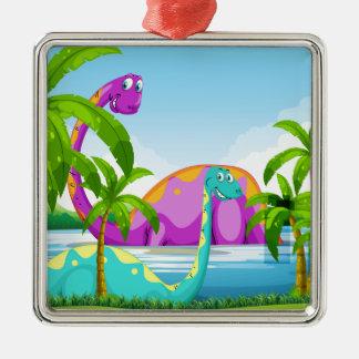 Dinosaur having fun in the lake christmas ornament