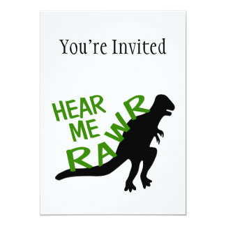 Dinosaur Hear Me Rawr 13 Cm X 18 Cm Invitation Card