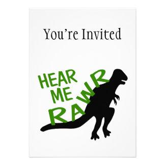 Dinosaur Hear Me Rawr Custom Announcement