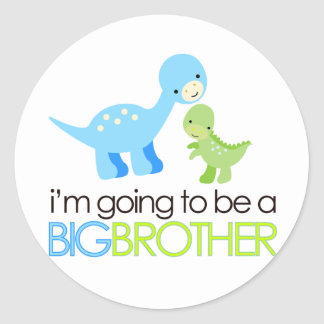Dinosaur I'm Going to Be A Big Brother Round Stickers