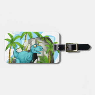 Dinosaur in front of the cave luggage tag