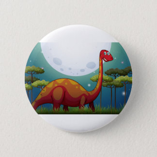 Dinosaur in the field at night 6 cm round badge