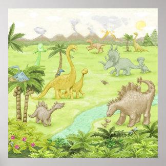 Dinosaur landscape poster