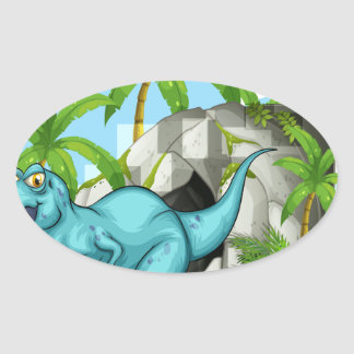 Dinosaur living in the cave oval sticker
