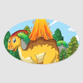 Dinosaur living in the forest oval sticker
