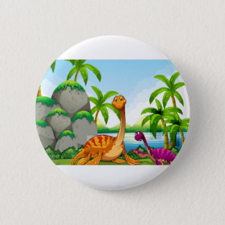 Dinosaur living in the jungle 6 cm round badge