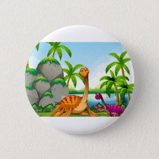 Dinosaur living in the jungle 6 cm round badge