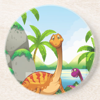 Dinosaur living in the jungle drink coaster