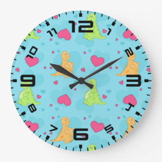 Dinosaur Love Large Clock