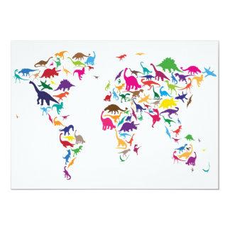 Dinosaur Map of the World Map 13 Cm X 18 Cm Invitation Card