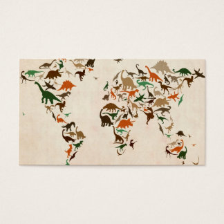 Dinosaur Map of the World Map Business Card