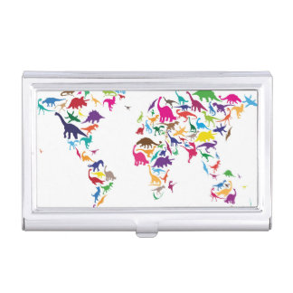 Dinosaur Map of the World Map Business Card Holder