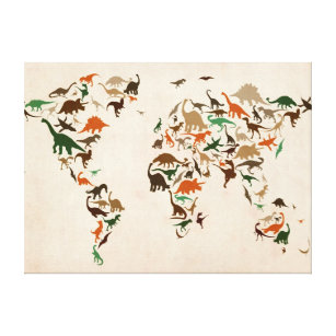 Dinosaur wrapped canvas prints zazzle dinosaur map of the world map canvas print gumiabroncs Images