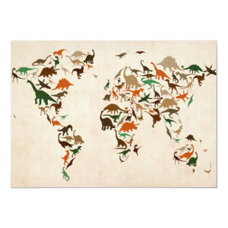 Dinosaur Map of the World Map Card
