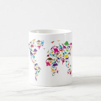 Dinosaur Map of the World Map Coffee Mug