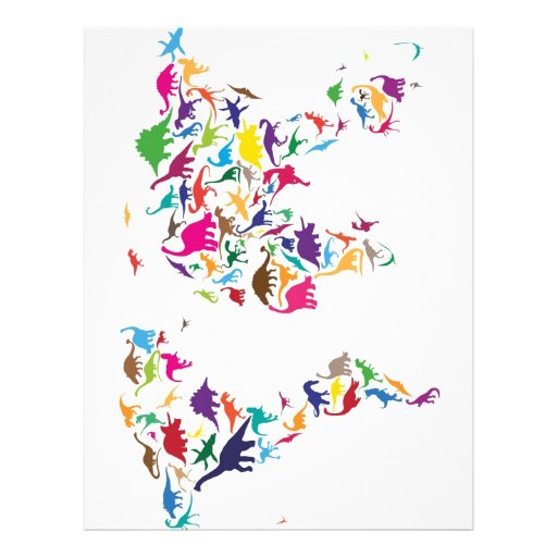 Dinosaur Map of the World Map Personalized Flyer