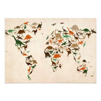 Dinosaur Map of the World Map Personalised Invites