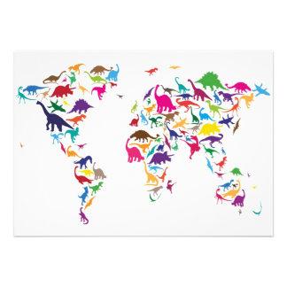 Dinosaur Map of the World Map Invite