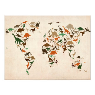 Dinosaur Map of the World Map Photograph