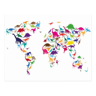 Dinosaur Map of the World Map Postcard