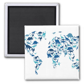 Dinosaur Map of the World Map Square Magnet