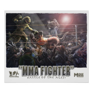 Dinosaur MMA Fighters Poster
