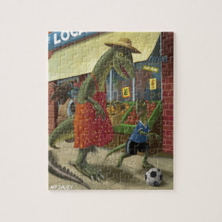 dinosaur mother out shopping with child kicking fo jigsaw puzzle