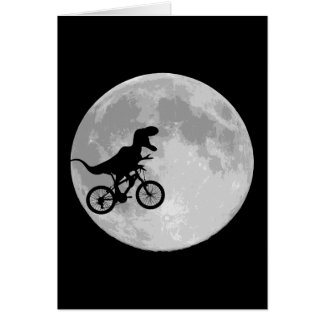 Dinosaur on a Bike In Sky With Moon Greeting Card
