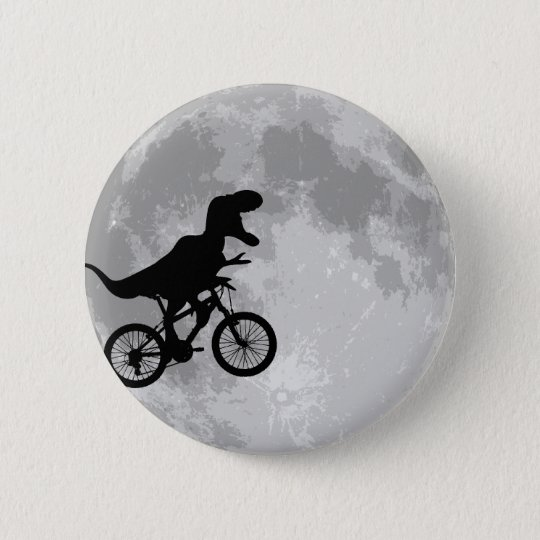 Dinosaur on a Bike In Sky With Moon Fun 6 Cm Round Badge