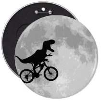 Dinosaur on a Bike In Sky With Moon Fun Pins