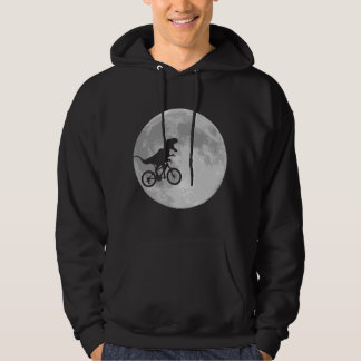Dinosaur on a Bike In Sky With Moon Hoodie