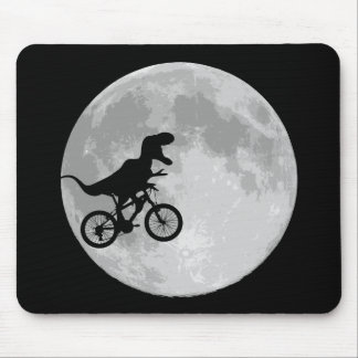 Dinosaur on a Bike In Sky With Moon Mousepad