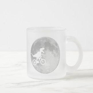 Dinosaur on a Bike In Sky With Moon Coffee Mugs