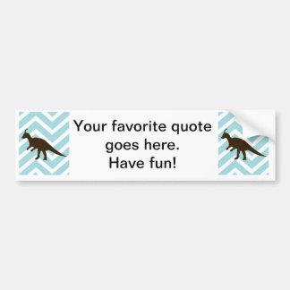 Dinosaur on Chevron Zigzag - Blue and White Car Bumper Sticker
