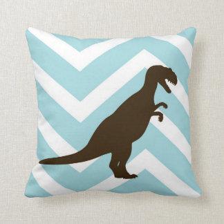 Dinosaur on Chevron Zigzag - Blue and White Cushion