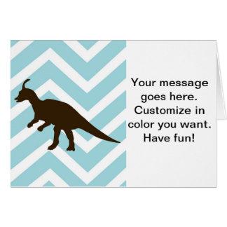 Dinosaur on Chevron Zigzag - Blue and White Greeting Card