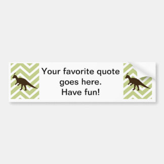 Dinosaur on Chevron Zigzag - Green and White Car Bumper Sticker