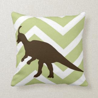 Dinosaur on Chevron Zigzag - Green and White Cushion