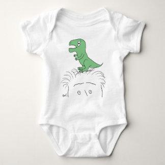 """Dinosaur on My Head!"" Apparel (green dino) Baby Bodysuit"