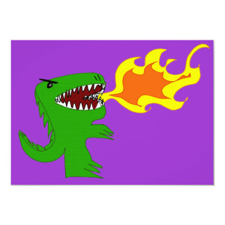 Dinosaur or Dragon Art by little t and Rene Lopez 5x7 Paper Invitation Card