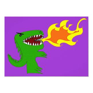Dinosaur or Dragon Art by little t and Rene Lopez 13 Cm X 18 Cm Invitation Card