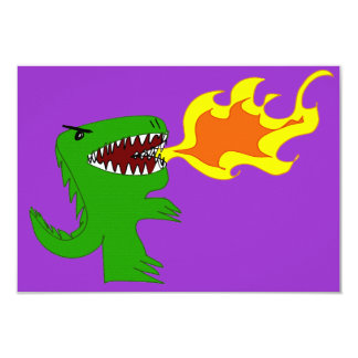 Dinosaur or Dragon Art by little t and Rene Lopez 3.5x5 Paper Invitation Card