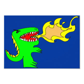 Dinosaur or Dragon Art by little t + Joseph Adams 9 Cm X 13 Cm Invitation Card