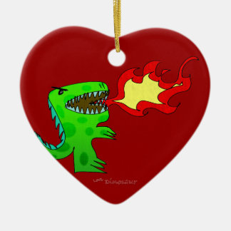 Dinosaur or Dragon by Jessica Jimerson - 2 Ceramic Heart Decoration